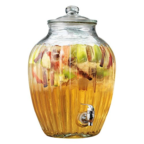 Elegant Home Glass Ribbed Extra Large Beverage Dispenser with Easy Push Spigot (2.7 Gallons)