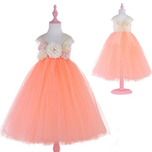 bd55ed7a5 Amazon.com: Peach Flower Girls Wedding Dresses Tulle Tutu Dress for  Birthday Party Dance: Handmade