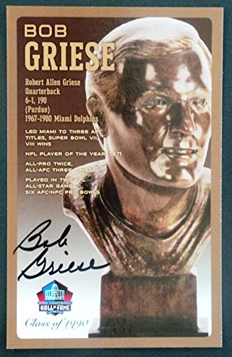 PRO FOOTBALL HALL OF FAME Bob Griese Miami Dolphins Signed Bronze Bust Set Autographed Card with COA (Limited Edition #/150)