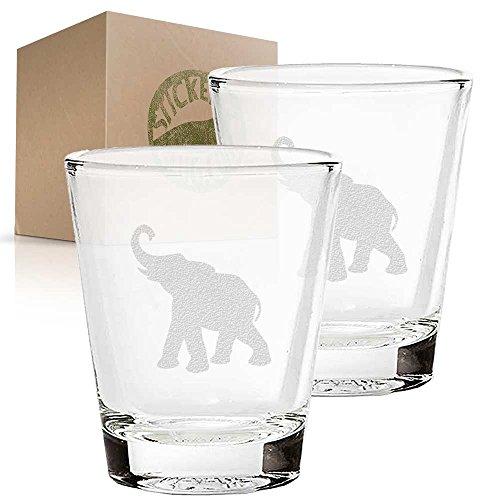 Elephant Shot Glass - Elephant etched glass shot glass set of two etch shot glasses for bar