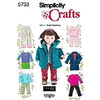 Patrón de costura de simplicidad 5733 Ropa para muñecas, talla única