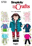 Casual Wardrobe for 18 Inch Dolls Simplicity sewing pattern 5733, part of Simplicity Holiday 2002 collection. Pattern for 9 looks. For sizes OS (ONE SIZE).