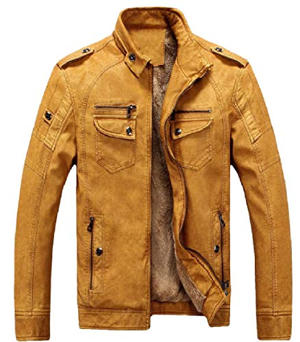 Coat Moto Jacket up Thick Casual security Men PU Zip Vintage Yellow Fleece Leather Faux w7PB1wq