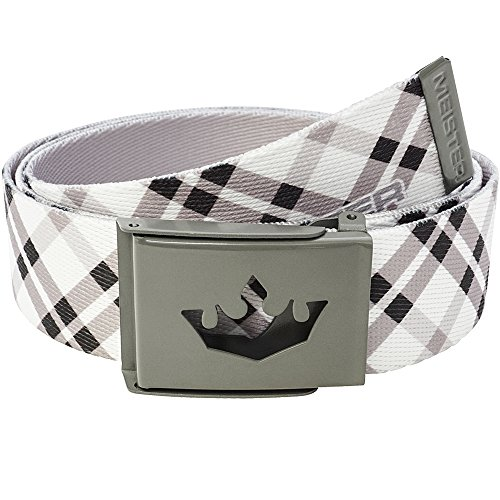 Meister Player Golf Web Belt - Adjustable & Reversible - Modern Plaid - Belts Web Clothing Accessories