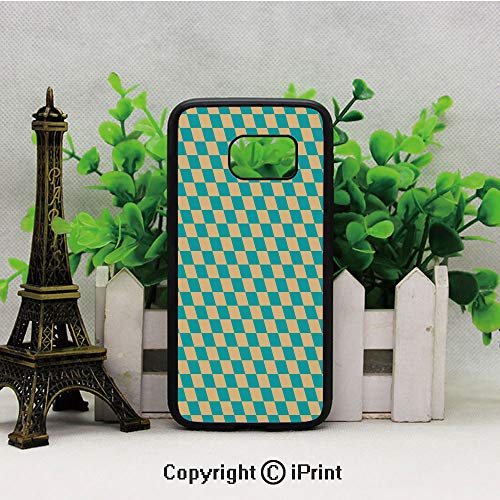 Art Deco Style Chess Table Dart Like Horizontal Vintage Image Samsung S7 Case for Girls Women Hard Back Shock Drop Proof Impact Resist Protective Case for Samsung S7 Turquoise and Light Yellow