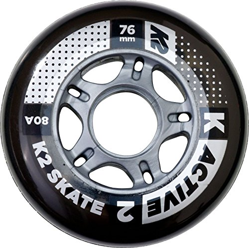 Active Wheel (K2 Skate Active 80A 8 Wheel Pack with ILQ 5 Bearing & Alum Spacer, 76mm,)