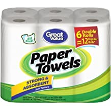 Great Value Paper Towel Double Rolls, 96 sheets, 6 rolls
