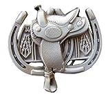 Saddle With Horse Shoes Novelty Belt Buckle
