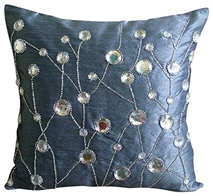 Amazon.com: The HomeCentric Luxury Blue Shams, Rhinestones ...