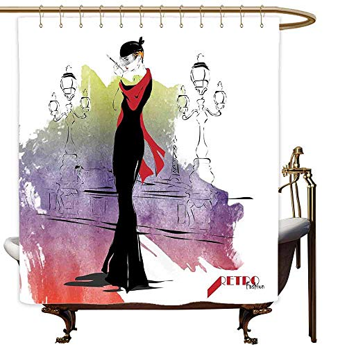 SKDSArts Shower Curtains for Bathroom with Animals Girls,Girl with Red Shawl on The Street with Lanterns Sixties Trends Retro Style Glamour,Multicolor,W60 x L72,Shower Curtain for Men -