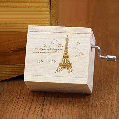 (Biscount Hand Crank Mini Vintage Clockwork Wooden Musical Box Castle in the Sky Eiffel Tower Music Box for Kids Girls Women Gift)