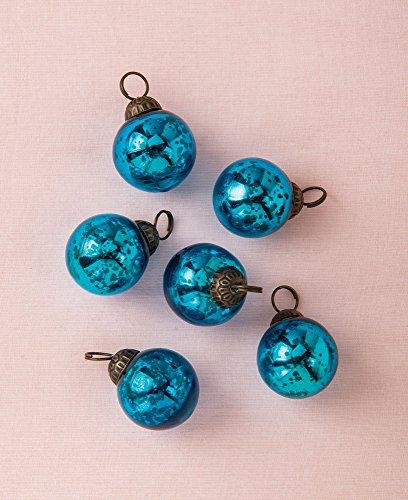 Luna Bazaar Mini Mercury Glass Ornaments (Ava Classic Ball Design, 1-1.5 Inches, Turquoise Blue, Set of 6) - Vintage-Style Mercury Glass Christmas Ornaments