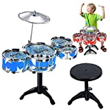 Children Musical Instrument Toy Jazz Drum Drumsticks Set with Chair for Boys and Girls Random Color