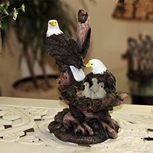 Patriotic American Bald Eagle Family Statue In Rustic Home Decor Sculptures Figurines And Wildlife Bird Gifts