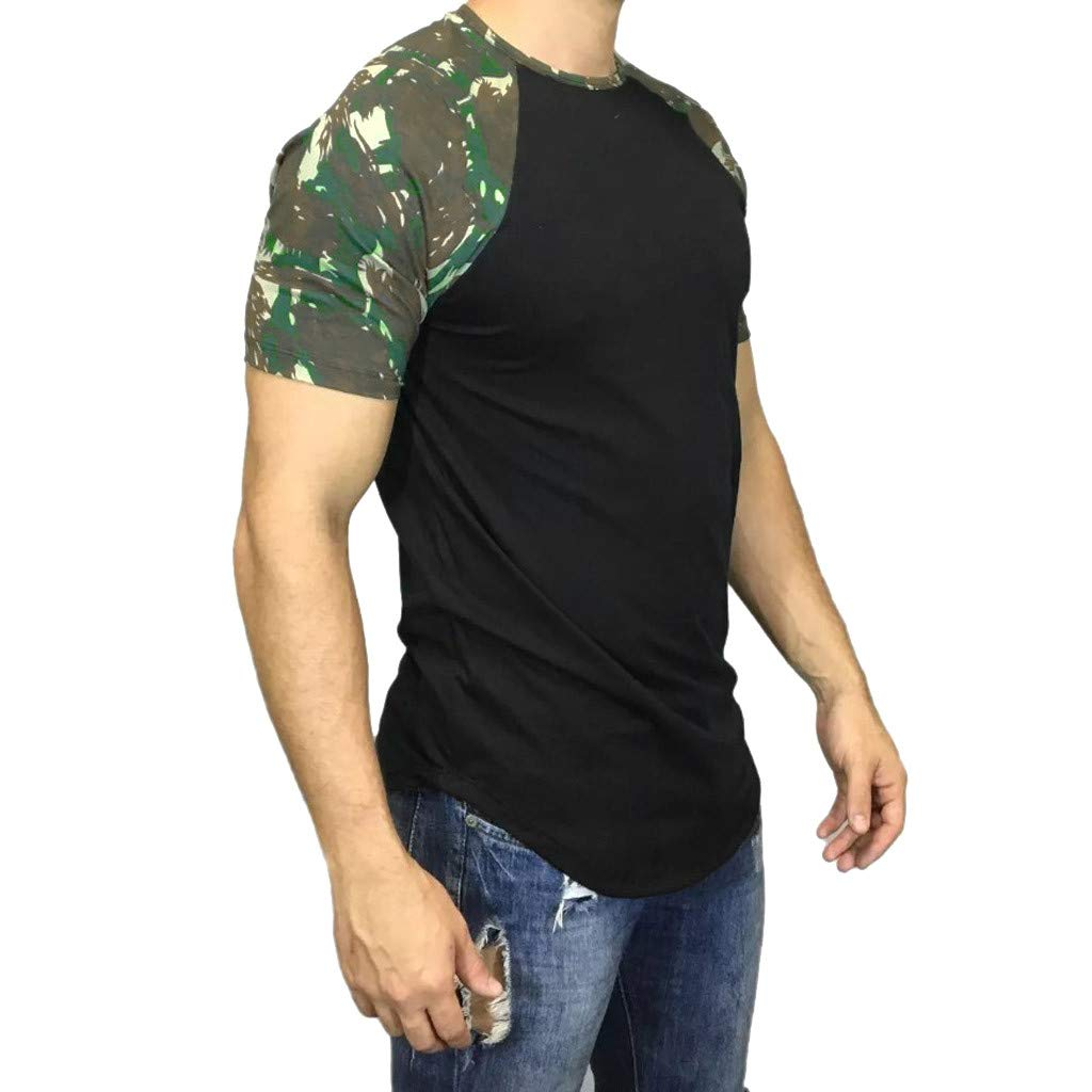 POQOQ Tops Blouse T-Shirt Men Casual Camouflage Print Short Sleeve O-Neck