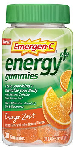Emergen-C Energy+ (30 Count, Orange Zest Flavor) Energy Dietary Supplement Gummies with Natural Caffeine from Green Tea, 3 B Vitamins, Vitamin C for Men & Women