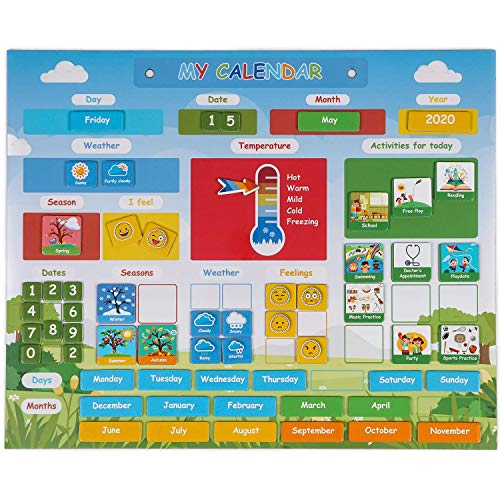 Simply Magic Kids Calendar | My First Daily Magnetic Calendar for Kids - Amazing Preschool Learning Toys for Toddlers - Preschool Classroom Calendar for Fridge or Wall - Weather Chart, - Learning Magnetic Calendar