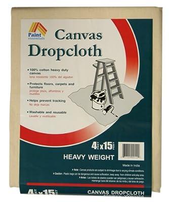 Paint Essentials 4-Feet x 15-Feet Canvas Drop Cloth HW415