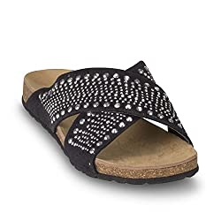 Wanted Shoes Women's Purdy Flat Sandal, Black, 5.5 M US