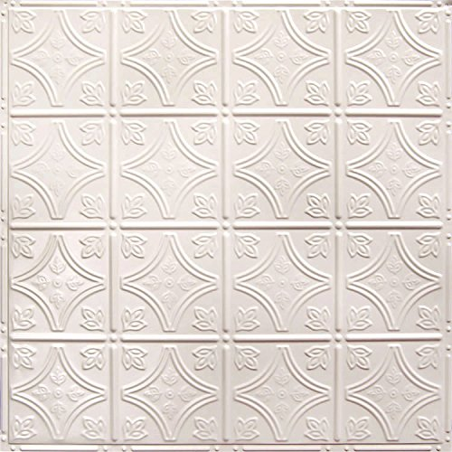American Tin Ceilings 24x24Nail-Up Tin Ceiling Tile Pattern #3, 5 Pack, Creamy White Satin ()