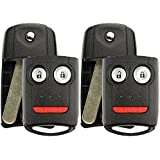 KeylessOption Keyless Entry Remote Control Uncut Blank Flip Key Fob Shell Case Outer Cover For Acura (Pack of 2)