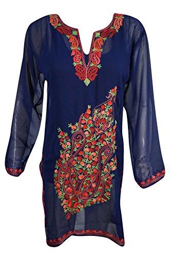 Mogul Womens Kashmiri Tunic Floral Embroidered Georgette Boho Indian Blue Kurti Shirt Dress (Blue 2)