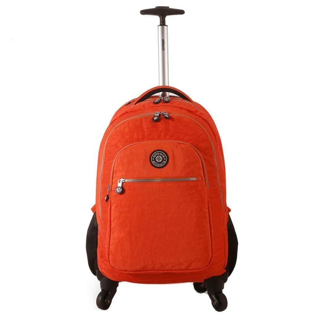 4輪トロリーバックパック防水エグゼクティブモバイルオフィスビジネスハンドキャビン荷物ノートパソコンリュックサック用旅行、キャンプ、フェスティバル (色 : オレンジ, サイズ さいず : 58*35*30cm) B07S1WQTKG オレンジ 58*35*30cm