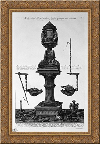 Marble tomb found in 1765 on the Via Labicana together with two vases and a lamp 20x24 Gold Ornate Wood Framed Canvas Art by Piranesi, Giovanni Battista