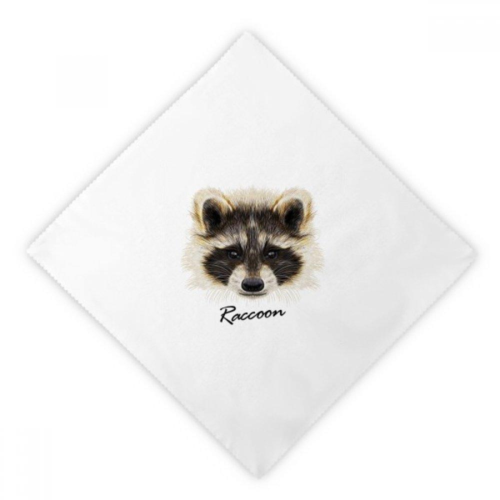 DIYthinker Little Mischievous Brown Raccoon Animal Dinner Napkins Lunch White Reusable Cloth 2pcs