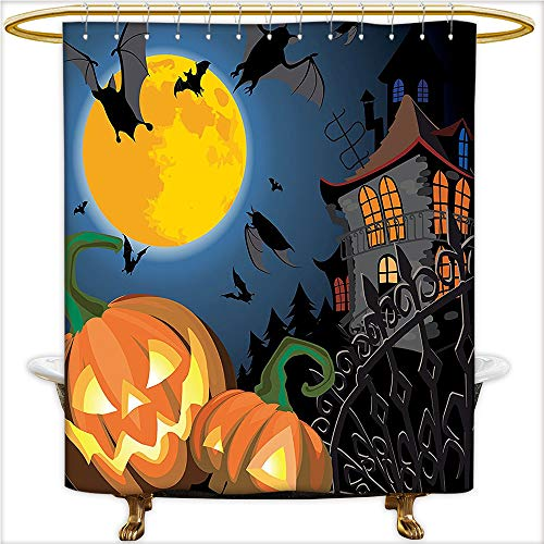 Qinyan-Home Bathroom Curtain with Removable Gothic Scene with Halloween Haunted Party Theme Trick or Treat for Kids Mold Resistant Shower Curtain for Bathroom.W72 x H84 Inch for $<!--$51.89-->