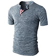 H2H Mens Casual Relaxed Fit Henley Fashoin Shirts with Button Placket