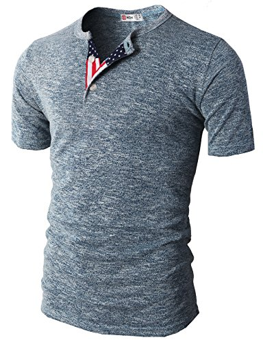 H2H-Mens-American-Flag-Henley-Short-Sleeve-Cool-Shirts-With-Button-Trim