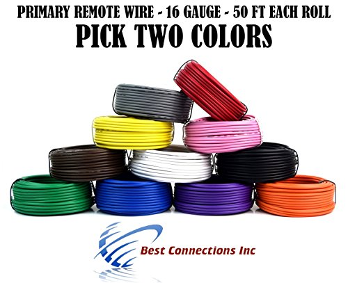 (2 Rolls Audiopipe 50' Feet 16 Gauge AWG Primary Remote Wire Auto Power Cable)