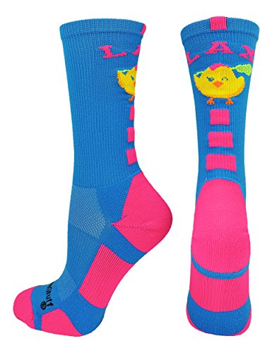MadSportsStuff LAX Chick Crew Socks (Electric Blue/Neon Pink, Medium)