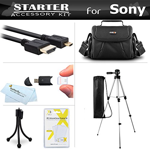 Accessories Kit For Sony Cyber-shot DSCH300/B, HX400V/B, DSC-HX300 Digital Camera Includes Deluxe Carrying Case + 50 Tripod With Case + Micro HDMI Cable + LCD Screen Protectors + Mini Tripod + More