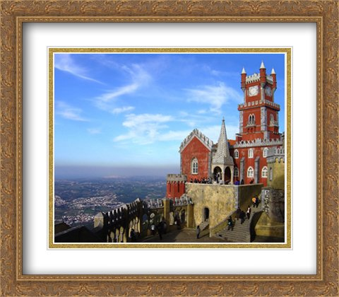 Series Sintra (Pena Palace, Sintra, Portugal 2x Matted 32x28 Large Gold Ornate Framed Art Print by The Cityscape Art Print Series)