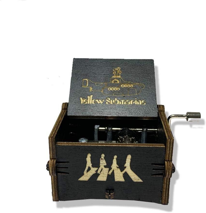f/ür M/ädchen Jungen mechanisch geschnitztes Holz-Aufziehger/ät tragbar FGHFG Beatles-Spieluhr Hochzeit Gelb U-Boot