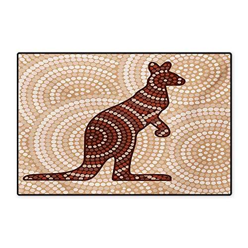 Tropical Animals Bath Mats Carpet Aboriginal Kangaroo Motif Ancient Cream Toned Circling Dot Design Customize Door mats for Home Mat 24