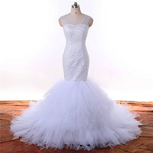 Tiered Beading - Wedding Dress long train 2018 African White Beading Tiered V-Neck Custom Made Bridal Gown Plus Size