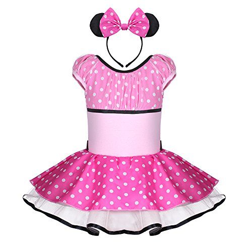 [Baby Girls Cute Mouse Dress with Headband Halloween Costume (XXL(7-8Y), Pink)] (Cute Costumes For Dance)