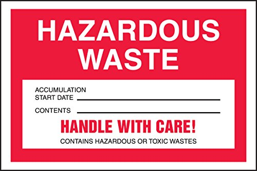 """Accuform MHZW15PSC Adhesive Coated Paper Hazardous Waste Label, Legend """"HAZARDOUS WASTE - ACCUMULATION START DATE - CONTENTS - HANDLE WITH CARE! CONTAINS HAZARDOUS OR TOXIC WASTES"""", 4"""" Length x 6"""" Width, Red/Black/White (Pack of 100)"""