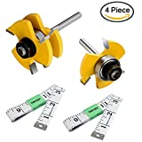 DanziX Tongue and Groove Router Bit Set of 2, Wood Door Flooring 3-Teeth T-Shape Adjustable, 1/4 Inch Shank Woodworking Milling Saw Cutter Tool + 2PCS 5FT Soft Tape Measure Ruler for Sewing Tailor