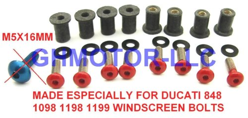 Ducati 848 1098 1198 1199 899 959 1299 SuperSport Panigale Corse V4 S R Red Windscreen Windshield Bolts Screws Kit Usa by GHMotor (Image #1)'