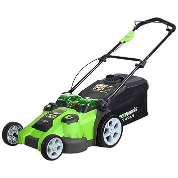 Greenworks Tools 2500207 Cortacésped Inalámbrico con Doble Cuchilla, 40 V, Verde