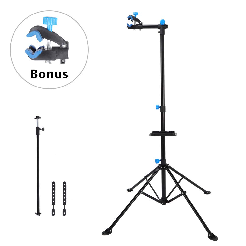 Bike Repair Stand Rack Pro Mechanic Cycle Bicycle Workshop Foldable Maintenance Tool Adjustable from 49.2'' to 76.8'' with Telescopic Arm Clamp and Tool Tray by Cocoarm
