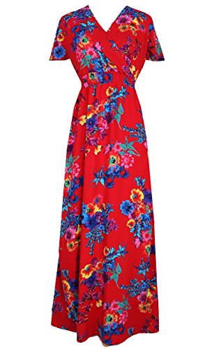 Women Black Summer Dress Maxi Plus Size Graduation Chiffon Gift Long Sleeveless Sexy Floral Sundress (3X, Red/Blue Floral) by MayriDress (Image #4)
