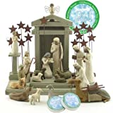 Willow Tree 21 Piece Nativity Set By Susan Lordi (Includes a Tree a Prayer Angel) with Go Green! Compressed Bamboo Towels