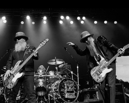 ZZ Top b/w moody concert image 8x10 Promotional Photograph