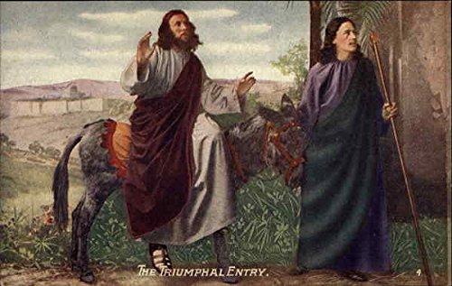 The Triumphal Entry Religious Original Vintage Postcard