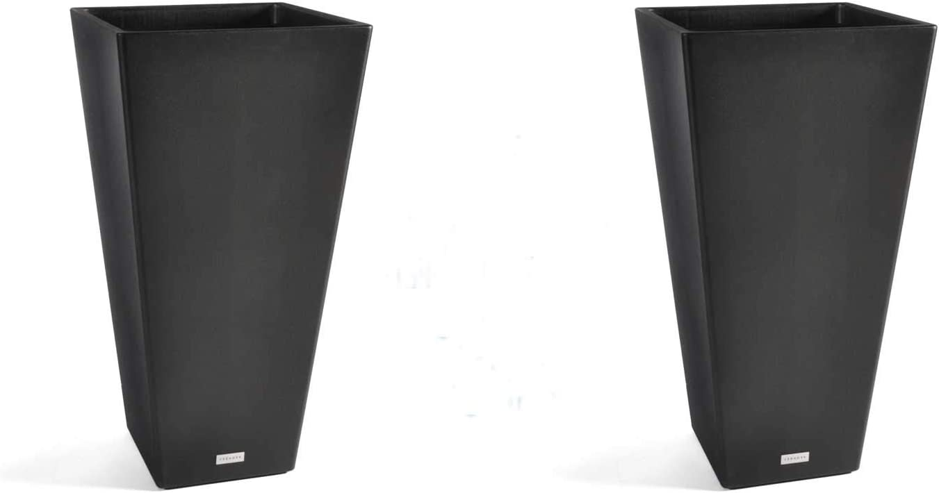 Veradek V-Resin Taper Tall Planter – Black – 30 in. – 2 Pack